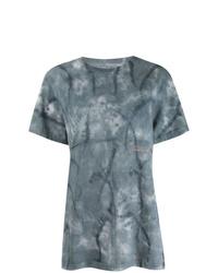 Camiseta con cuello circular efecto teñido anudado azul