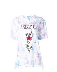 Camiseta con cuello circular efecto teñido anudado blanca de Alchemist