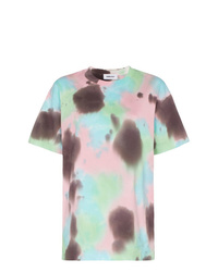 Camiseta con cuello circular efecto teñido anudado celeste de Ambush