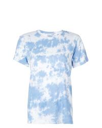 Camiseta con cuello circular efecto teñido anudado celeste de Reformation