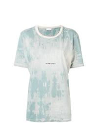 Camiseta con cuello circular efecto teñido anudado celeste de Saint Laurent