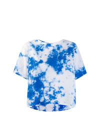 Camiseta con cuello circular efecto teñido anudado celeste de Suzusan