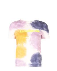 Camiseta con cuello circular efecto teñido anudado en multicolor de A.L.C.