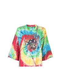 Camiseta con cuello circular efecto teñido anudado en multicolor de R13