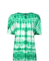 Camiseta con cuello circular efecto teñido anudado en verde menta