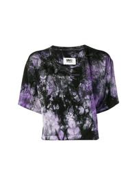 Camiseta con cuello circular efecto teñido anudado morado oscuro de MM6 MAISON MARGIELA