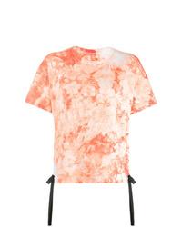 Camiseta con cuello circular efecto teñido anudado naranja de Sacai