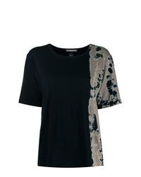 Camiseta con cuello circular efecto teñido anudado negra de Suzusan