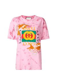 Camiseta con cuello circular efecto teñido anudado rosada de Gucci