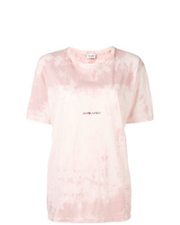 Camiseta con cuello circular efecto teñido anudado rosada de Saint Laurent