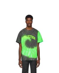 Camiseta con cuello circular efecto teñido anudado verde
