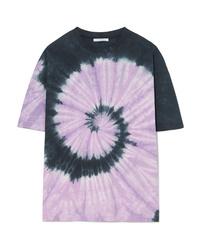 Camiseta con cuello circular efecto teñido anudado violeta claro