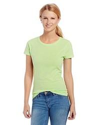Camiseta con cuello circular en amarillo verdoso