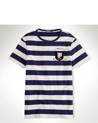 Camiseta con cuello circular en azul marino y blanco