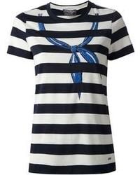 Camiseta con cuello circular en azul marino y blanco de Salvatore Ferragamo