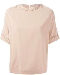 Camiseta con cuello circular en beige de Brunello Cucinelli