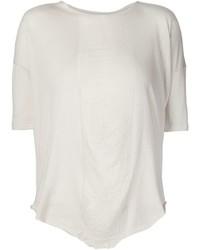 Camiseta con cuello circular en beige de Raquel Allegra