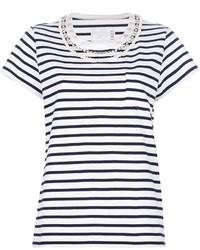 Camiseta con cuello circular en blanco y azul marino