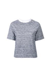 Camiseta con cuello circular en blanco y azul marino de JULIEN DAVID