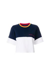 Camiseta con cuello circular en blanco y azul marino de Perfect Moment