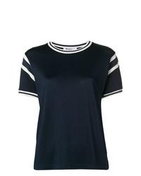 Camiseta con cuello circular en blanco y azul marino de T by Alexander Wang