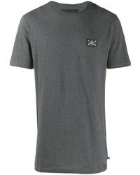 Camiseta con cuello circular en gris oscuro de Philipp Plein