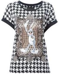 Camiseta con cuello circular en negro y blanco