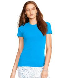 Camiseta con cuello circular en turquesa
