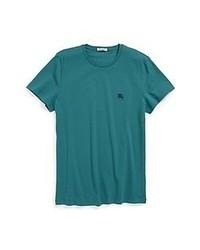 Camiseta con cuello circular en verde azulado