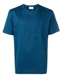 Camiseta con cuello circular en verde azulado de Salvatore Ferragamo