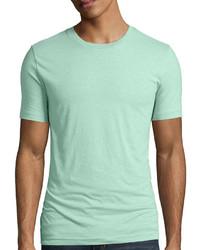 Camiseta con cuello circular en verde menta