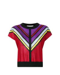 Camiseta con cuello circular en zig zag roja de Philosophy di Lorenzo Serafini