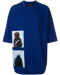 Camiseta con cuello circular estampada azul marino de Juun.J