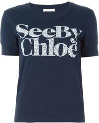 Camiseta con cuello circular estampada azul marino de See by Chloe
