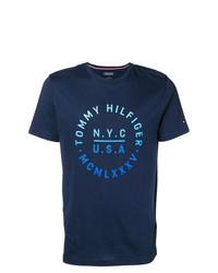 Camiseta con cuello circular estampada azul marino de Tommy Hilfiger