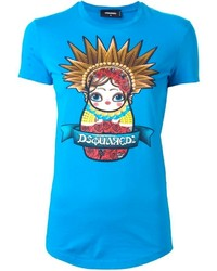Camiseta con cuello circular estampada azul de Dsquared2