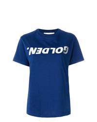 Camiseta con cuello circular estampada azul de Golden Goose Deluxe Brand