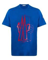 Camiseta con cuello circular estampada azul de Moncler