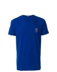 Camiseta con cuello circular estampada azul de Versace