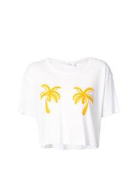 Camiseta con cuello circular estampada blanca de A.L.C.