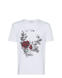 Camiseta con cuello circular estampada blanca de Alexander McQueen