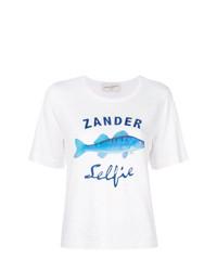 Camiseta con cuello circular estampada blanca de Antonia Zander