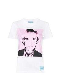 Camiseta con cuello circular estampada blanca de Calvin Klein Jeans