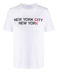 Camiseta con cuello circular estampada blanca de Calvin Klein