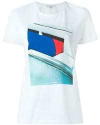 Camiseta con cuello circular estampada blanca de Carven