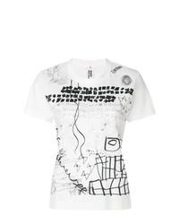 Camiseta con cuello circular estampada blanca de Comme Des Garçons Noir Kei Ninomiya