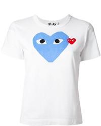 Camiseta con cuello circular estampada blanca de Comme des Garcons