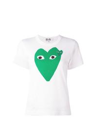 Camiseta con cuello circular estampada blanca de Comme Des Garcons Play