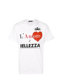 Camiseta con cuello circular estampada blanca de Dolce & Gabbana