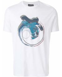 Camiseta con cuello circular estampada blanca de Emporio Armani